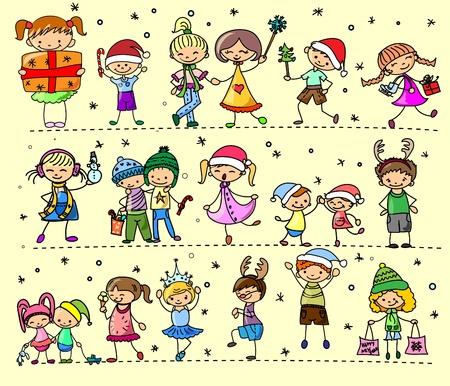 snow man party: Cartoon Christmas children