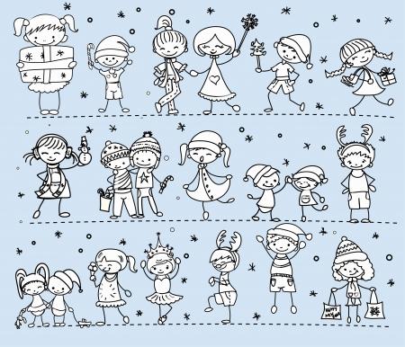 bocetos de personas: Caricatura de Navidad los ni�os
