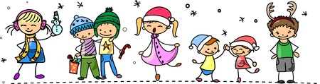 Cartoon Christmas children  Vector