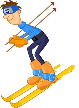 amusant: skieur dr�le de bande dessin�e Illustration