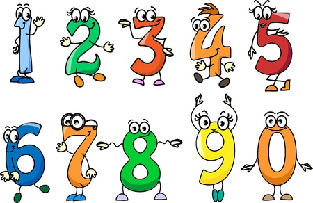 number nine: Cartoon numbers  Illustration