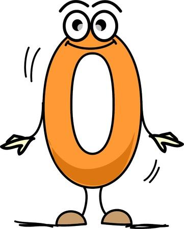 nulo: Cartoon n�mero cero Vectores