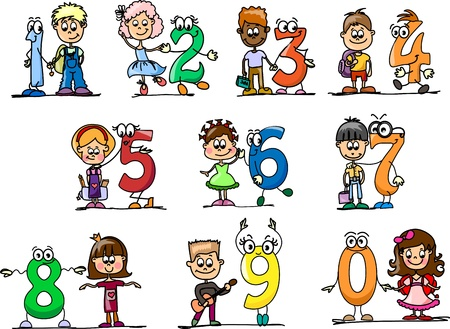 6 7: Cartoon numbers and children Illustration