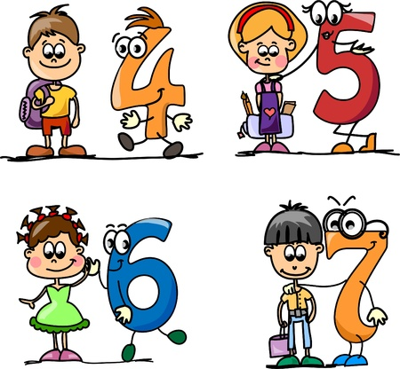 Cartoon numbers and children  Illustration