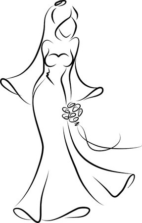 bridal bouquet: Silhouette of a bride in a wedding dress Illustration