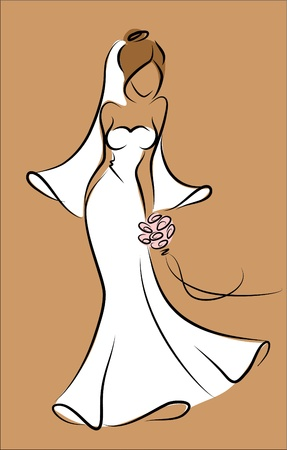 gowns: Silhouette of a bride in a wedding dress Illustration