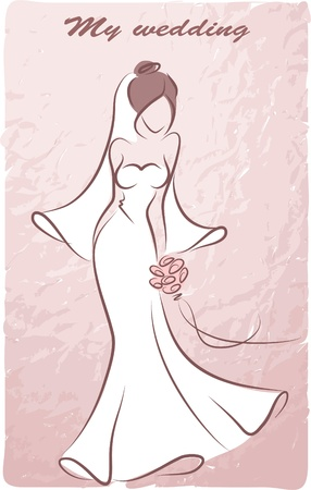 bride bouquet: Silhouette of a bride in a wedding dress Illustration
