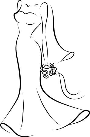 ankleiden: Silhouette einer Braut in einem Hochzeitskleid Illustration