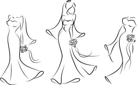 Silhouette einer Braut in einem Hochzeitskleid