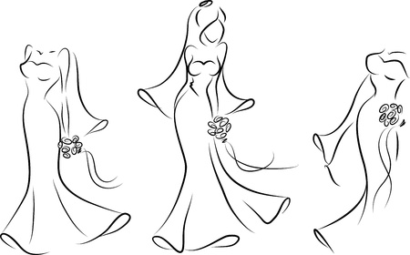 bride veil: Silhouette of a bride in a wedding dress Illustration
