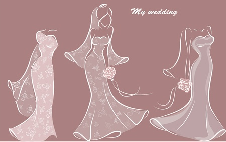 Silhouette of a bride in a wedding dress Vector