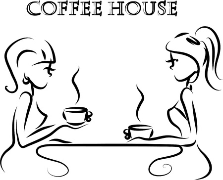 women coffee: Girls are drinking coffee in a coffee shop