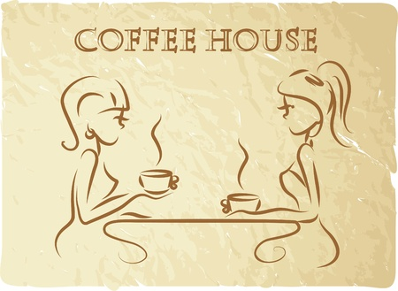 Girls are drinking coffee in a coffee shop Vector
