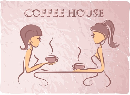 coffee shop: Girls are drinking coffee in a coffee shop