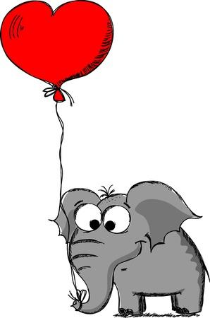 elephant in love on Valentine Stock Vector - 11659071