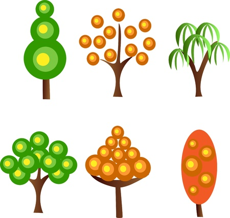drawing trees: Set of icons of different trees, the vector