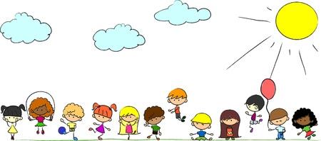 girotondo bambini: Buon gioco carino bambini, danza, salto, vettore
