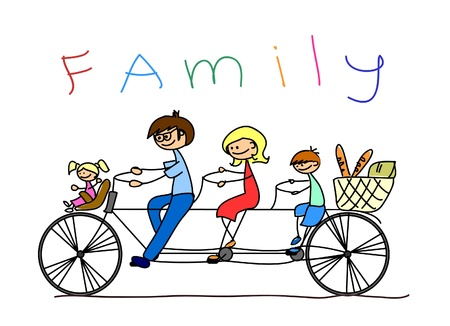 happy family isolated: childs drawing of the family on a bicycle, vector  Illustration