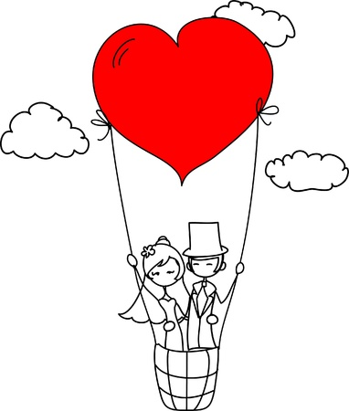 bride and groom illustration: wedding picture