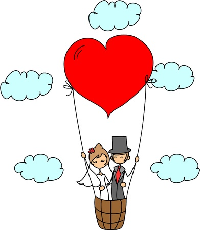 heart balloon: wedding picture, bride and groom in love