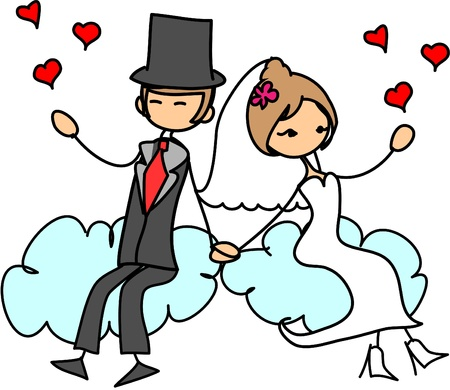 wedding picture, bride and groom in love Vector