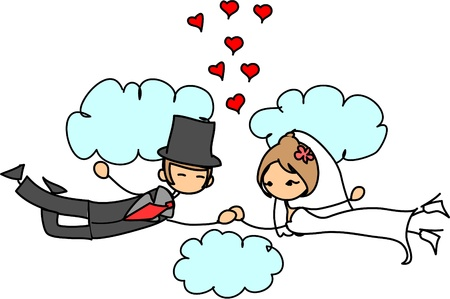 bride and groom illustration: wedding picture, bride and groom in love