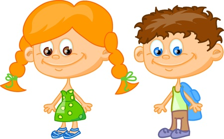 cartoon children, students  Stock Vector - 11657422