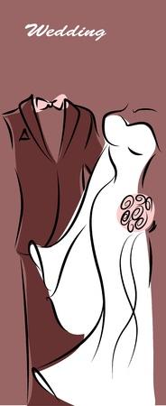 Silueta de la novia y el novio, los antecedentes Ilustración de vector