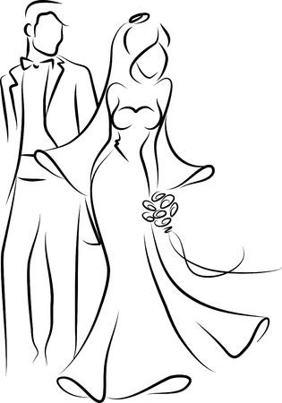 Silhouette de la mariée et le marié, fond
