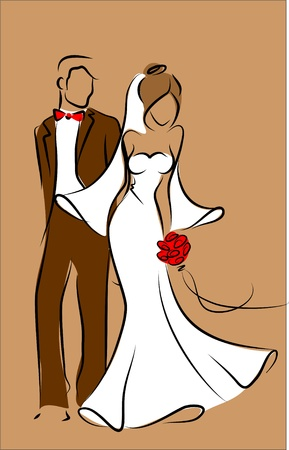 romantic couple: Silhouette of bride and groom, background