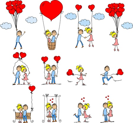 Valentine doodle boy and girl Stock Vector - 11809009