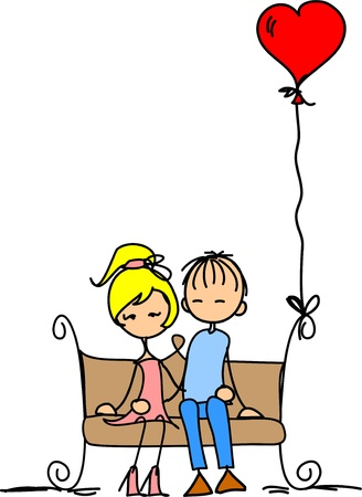 lucky man: Valentine doodle boy and girl Illustration