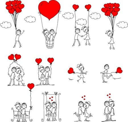 girl in red dress: Valentine doodle boy and girl Illustration