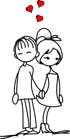 cartoon wedding: Valentine doodle boy and girl Illustration
