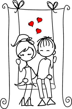 Valentine doodle boy and girl Illustration
