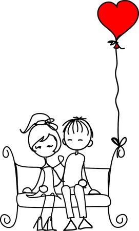 Valentine doodle jongen en meisje