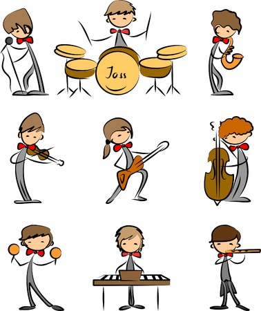 guitarists: Music Doodles Illustration
