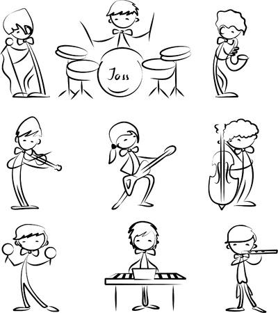 bass player: Music Doodles Illustration