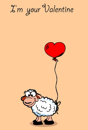 sheep sign: The card for Valentine