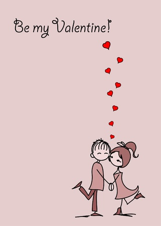 teenagers love: Valentine doodle boy and girl Illustration