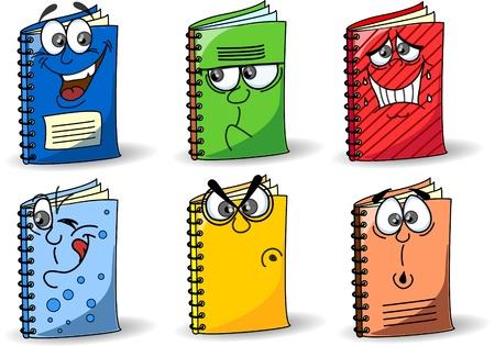writing equipment: Cartoon school notebooks Illustration