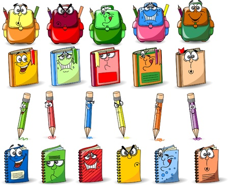 yellow notebook: Cartoon school bags, pencils, books, notebooks Illustration