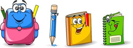 Cartoon school bags, pencils, books, notebooks