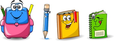 Cartoon school bags, pencils, books, notebooks  Vector