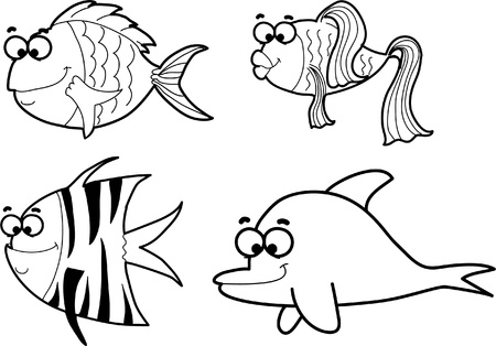 plunging: Marine fishes, vector illustration  Illustration