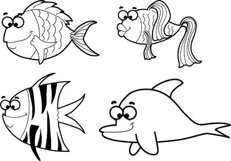 hippo campus: Marine fishes, vector illustration  Illustration