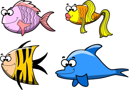 small group of objects: Marine fishes, vector illustration  Illustration