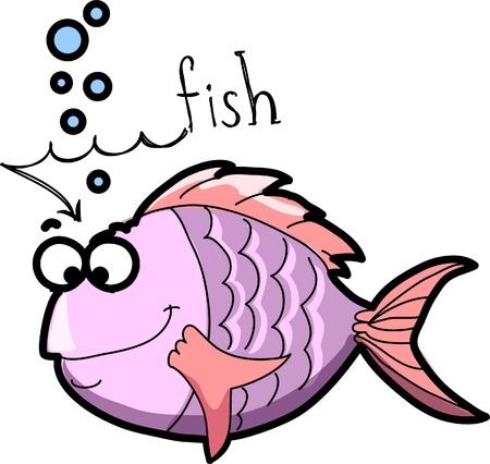hippo campus: Marine fish, vector illustration