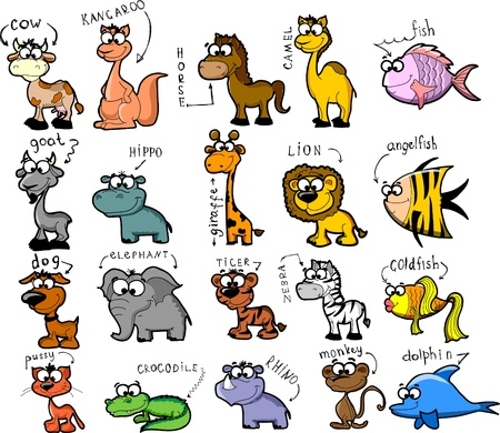 Big set of cartoon animals  Stock Vector - 11920243