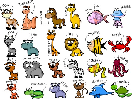 australia farm: Big set of cartoon animals